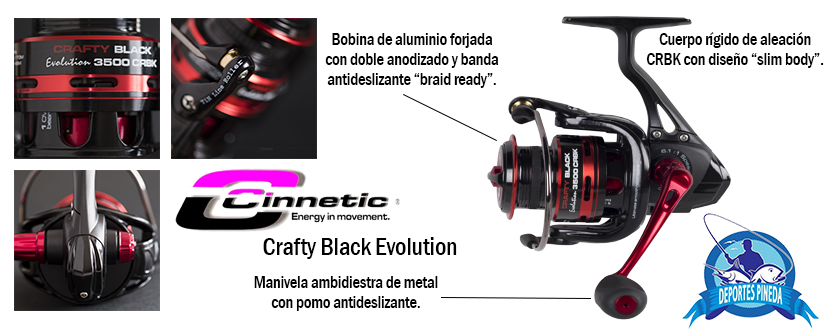 carrete cinnetic crafty black evolution